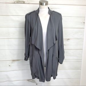Cascade open front women's blazer grey medium